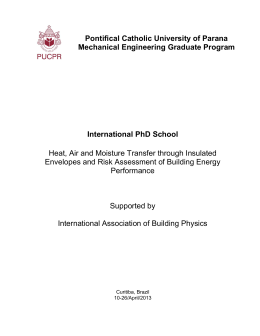 International PhD School Heat, Air and Moisture Transfer