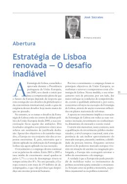 Abertura Estratégia de Lisboa renovada — O desafio inadiável