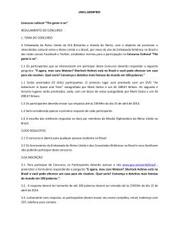 "Concurso cultural ""The game is on"" REGULAMENTO DO"