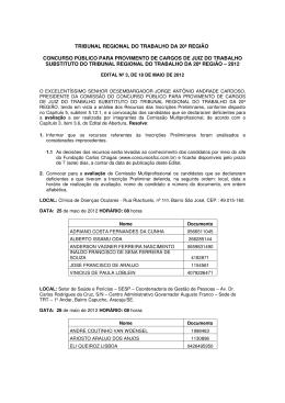 tribunal regional do trabalho da 20ª região concurso público para