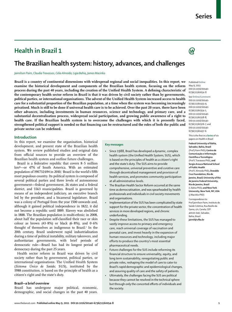 Series Health In Brazil 1 The Brazilian Health System