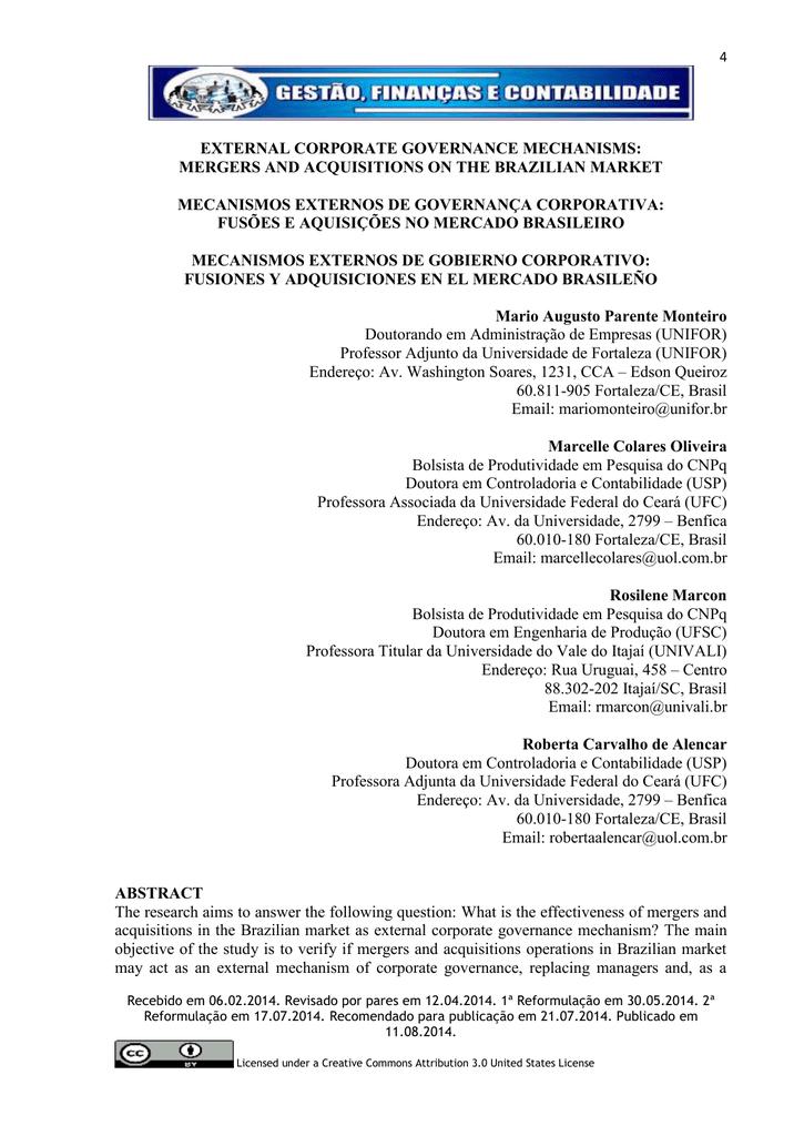external corporate governance mechanisms: mergers and