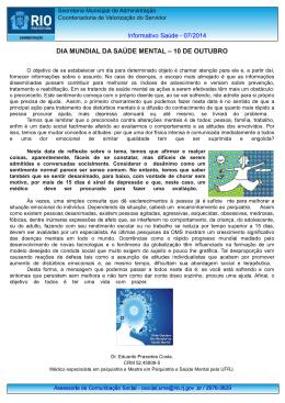 DIA MUNDIAL DA SAÚDE MENTAL – 10 DE OUTUBRO