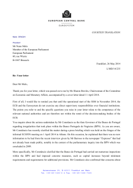 Letter from the ECB President to Mr Nuno Melo