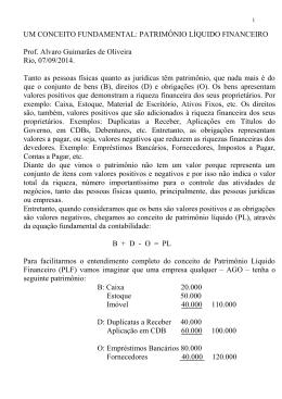 UM CONCEITO FUNDAMENTAL: PATRIMÔNIO LÍQUIDO