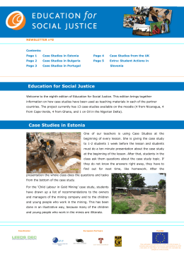 8th Newsletter - EDUCATION for SOCIAL JUSTICE
