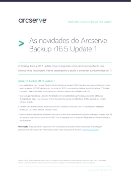 As novidades do Arcserve Backup r16.5 Update 1