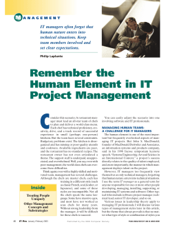 Remember the human element in it project management