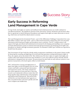 Early Success in Reforming Land Management in Cape Verde