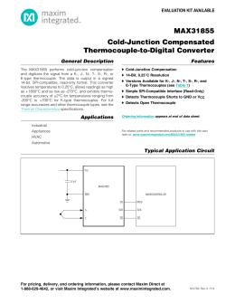 MAX31855 Cold-Junction Compensated Thermocouple