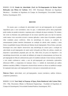 ROMÃO. E.G.M. Estudo da Adesividade (Tack) de Pré