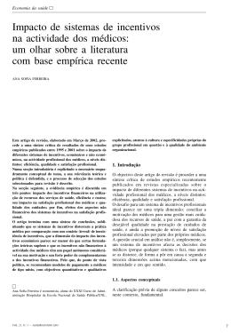 Impacto de sistemas de incentivos na actividade dos médicos: um
