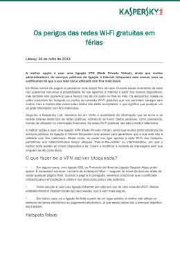 Kaspersky Lab Press Release hotspots gratuitos