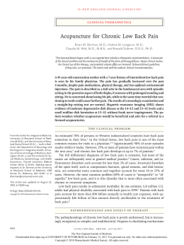 Berman (2010) - Acupuncture for chronic low back pain