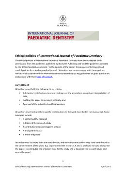 Ethical policies of International Journal of Paediatric Dentistry