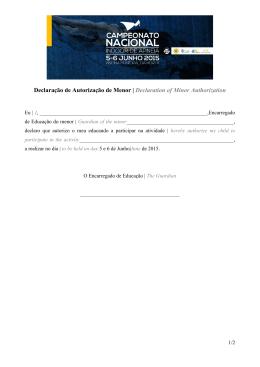 Declaração de Autorização de Menor | Declaration of Minor
