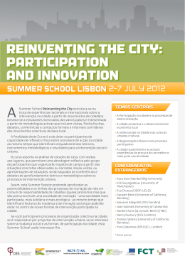 reinventing the city: participation and innovation - dinâmia`cet-iul