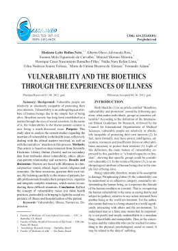 vulnerability and the bioethics through the experiences of