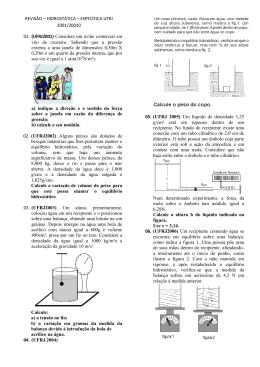REVISÃO – HIDROSTÁTICA – ESPECÍFICA UFRJ 2001