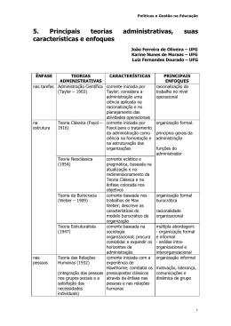 5. Principais teorias administrativas, suas características e enfoques
