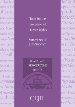 SUMMARIES OF JURISPRUDENCE Health and Reproductive Rights