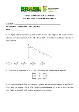 AULAS 9 E 10 - TRIGONOMETRIA BÁSICA