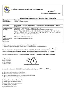 Matemática - 9º ANO