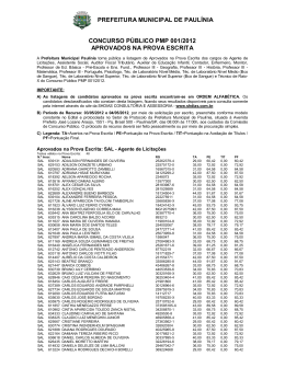Aprovados Prova Escrita - Prefeitura Municipal de Paulínia