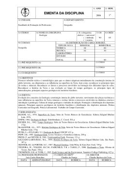 EMENTA DA DISCIPLINA - Faculdade de Formação de Professores