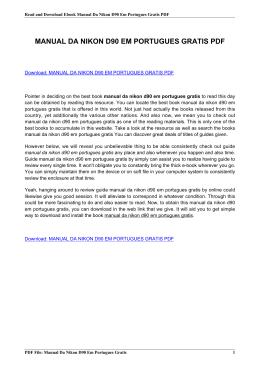 manual da nikon d90 em portugues gratis pdf