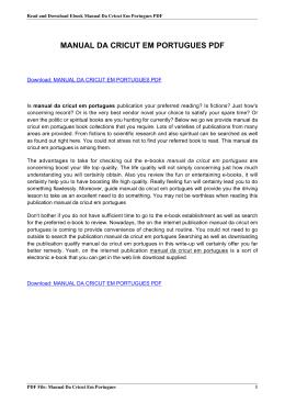 manual da cricut em portugues pdf rh livrozilla com cricut cake manual em portugues Cricut CRV001 Manual