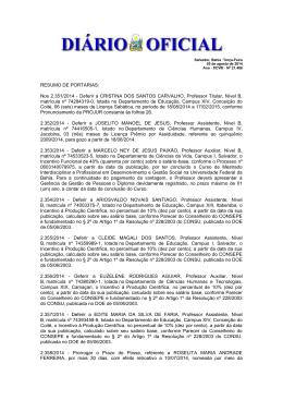 RESUMO DE PORTARIAS: Nos 2.351/2014