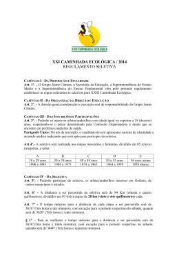 XXI CAMINHADA ECOLÓGICA / 2014 REGULAMENTO SELETIVA