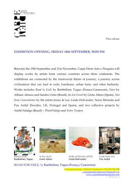 EXHIBITION OPENING, FRIDAY 18th SEPTEMBER, 9H30 PM