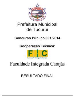 Publicação do Resultado Final - Prefeitura Municipal de Tucuruí