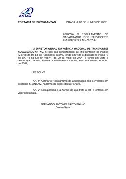 portaria nº 108/2007-antaq brasília, 06 de junho de 2007 aprova o