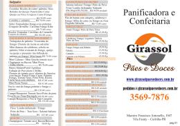 Cardápio Completo - Panificadora e Confeitaria Girassol
