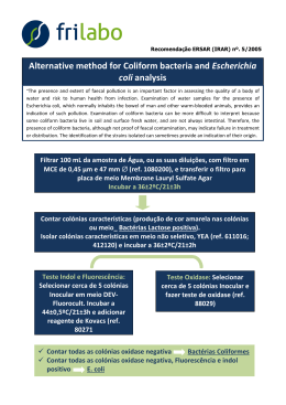 Alternative method for Coliform bacteria and Escherichia coli analysis