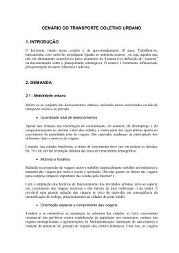CENÁRIO DO TRANSPORTE COLETIVO URBANO