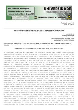 transporte coletivo urbano: o caso da cidade de guarapuava-pr