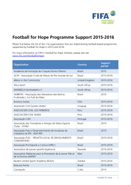 Football for Hope Programme Support 2015-2016