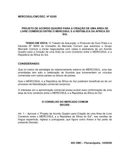 mercosul/cmc/dec. nº 62/00 projeto de acordo quadro