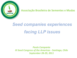 Seed companies experiences facing LLP issues