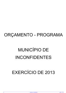 orçamento - programa município de inconfidentes exercício de 2013