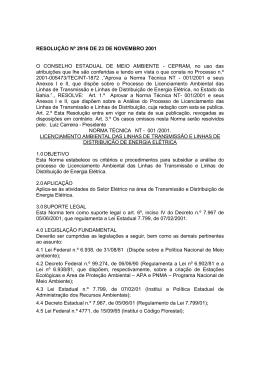 RESOLUÇÃO Nº 2916 DE 23 DE NOVEMBRO 2001 O