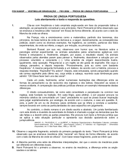 PROVA DE LÍNGUA PORTUGUESA Leia atentamente o texto e