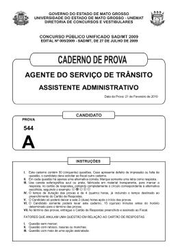 AGENTE DO SERVIÇO DE TRÂNSITO - SAD