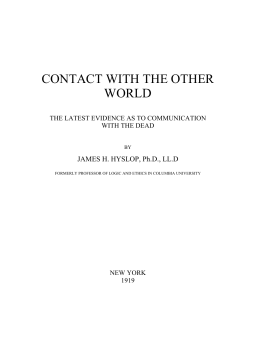 James Hervey Hyslop - Contact with the Other World
