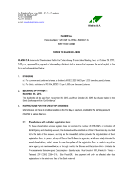 27/10/2015 – Notice to shareholders