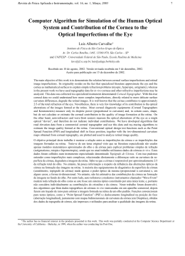 Computer Algorithm for Simulation of the Human Optical System and